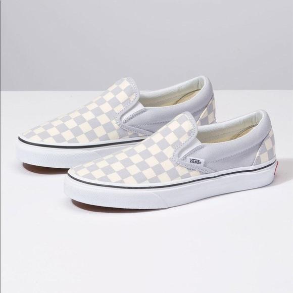 01b71589 Vans Classic Slip-On Checkerboard Gray Dawn size 9 NWT